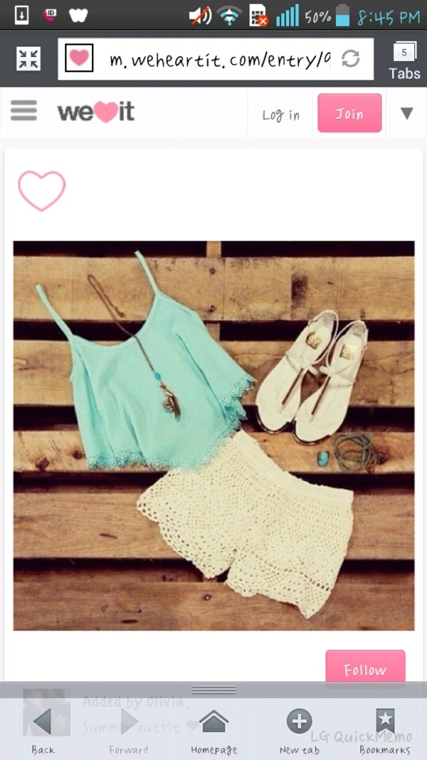 shirt crop tops white lace shorts sandals summer outfits shorts