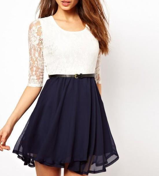 dress fashion lace lace dress skater dress mini dress skirt cute pretty  navy blue white summer 4554880642cf