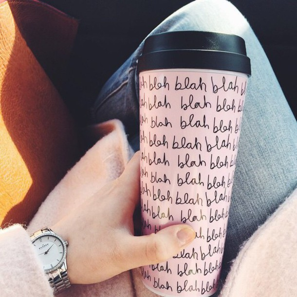 home accessory coffee mug coffee tea drinks cup holder water trendy hipster cute cute cup beautiful bla bla blah blah pink black cursive writing love light pink yay aww