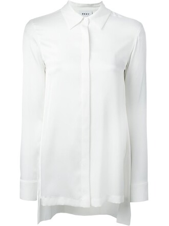 shirt back slit white top