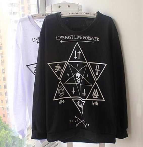 star sweater black satanic jumper symbols skull