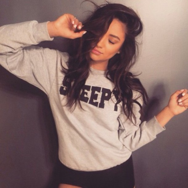Sweater Grey Sweater Sweatshirt Shay Mitchell
