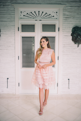 gal meets glam blogger light pink pink dress lace dress flats spring outfits