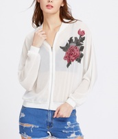 jacket,embroidered,girly,white,rose embroidered