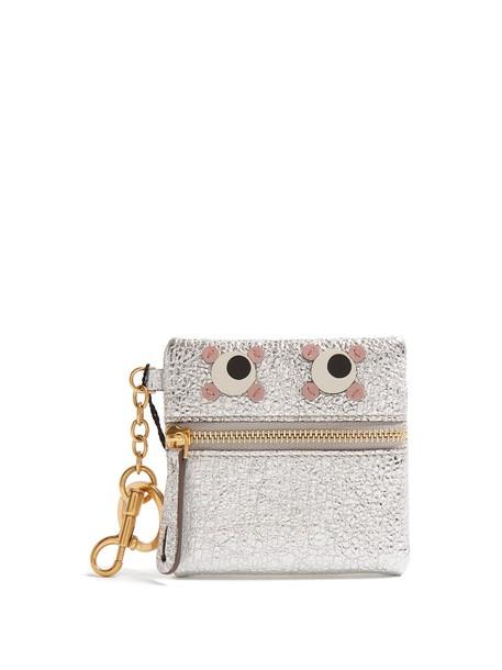 eyes purse leather silver bag