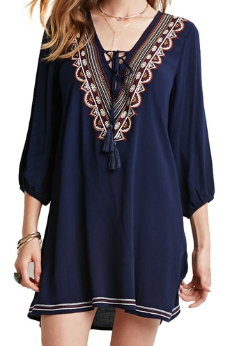 dress navy trendy boho gypsy long sleeves summer zaful