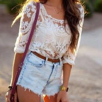 blouse white high waisted shorts light wash light blue jean shorts light colored jean shorts dentelle