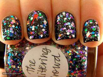 nail polish black nail sparkling