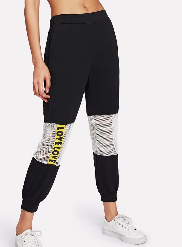 pants girly black sweatpants joggers mesh white