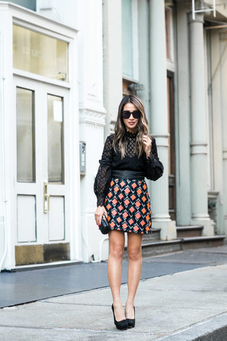 wendy's lookbook blogger belt black top long sleeves mini skirt orange black heels lace top black lace top see through sheer blouse patterned skirt office outfits