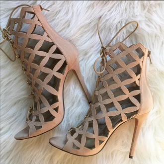 shoes booties nude cut out booties nude boots lattice booties stilettos