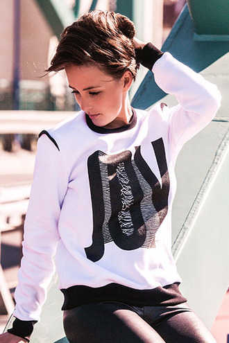 sweater joy division print black and white joy streetwear streetstyle fall outfits urban clothing white sweatshirt white sweater street printed sweatshrit trendy printed leggings