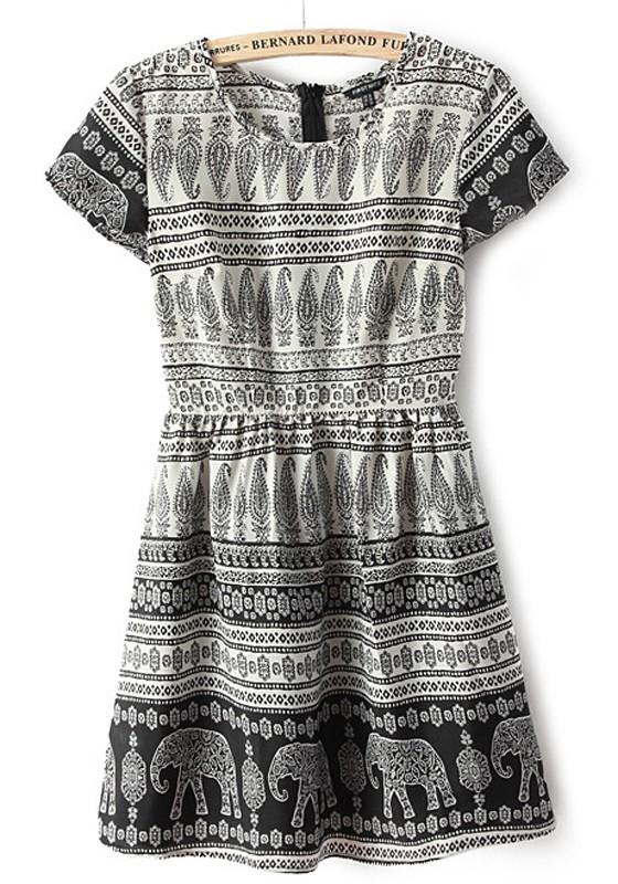 Black geometric elephant print polyester dress