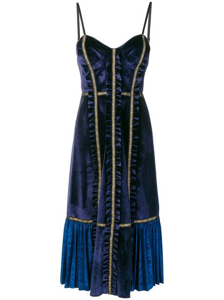 self-portrait dress midi dress women midi spandex blue