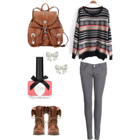 shirt warm grey jeans causal printed brow boots winter outfit ankle boots jeans shoes