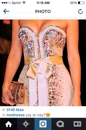 dress,white,beading,modnessa,short,ribbon,strapless