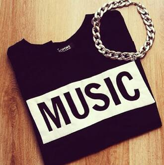 t-shirt black t-shirt writing music cotton jewels