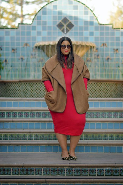 garner style blogger curvy red dress winter outfits coat plus size plus size dress midi dress