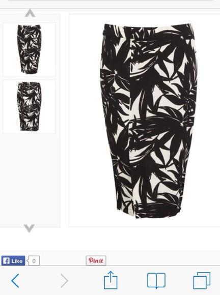 black and white skirt palm tree print