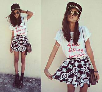 skirt cute t-shirt aztec spiked hats hipster accessories