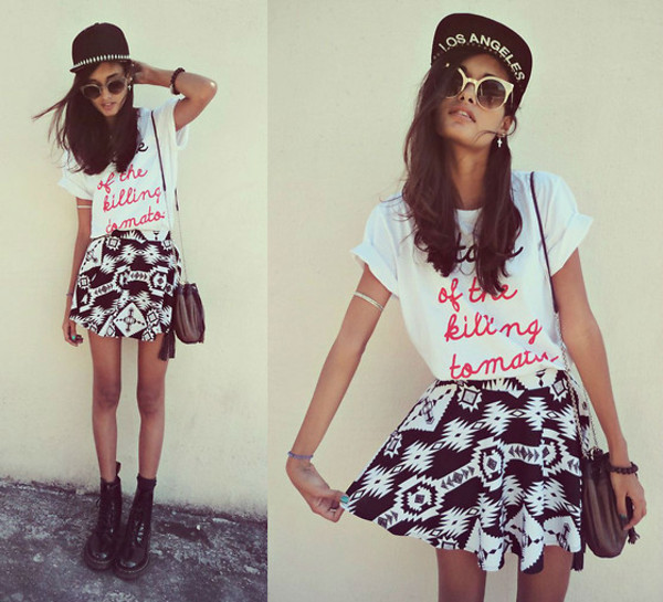 skirt cute t-shirt t-shirt aztec spiked hats hipster hipster accessories