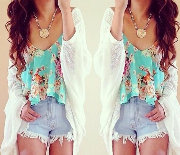 shirt blue shirt flowered shirt cardigan top shorts white cardigan blouse floral top floral tank top crop tank