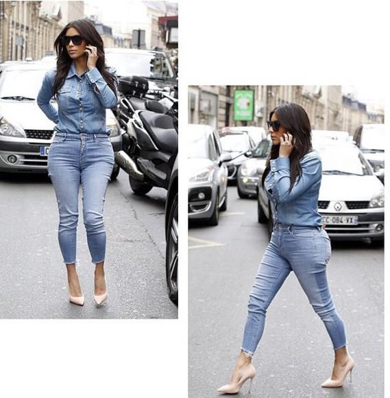denim shirt top denim cut offs all denim kim kardashian casual denim jacket