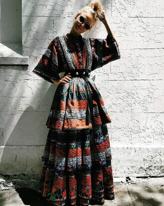 dress tumblr maxi dress long dress ethnic ruffle ruffle dress three-quarter sleeves printed dress waist belt belt belted dress kenzo kenzoxhm gypsy boho dress animal print designer h&m roses