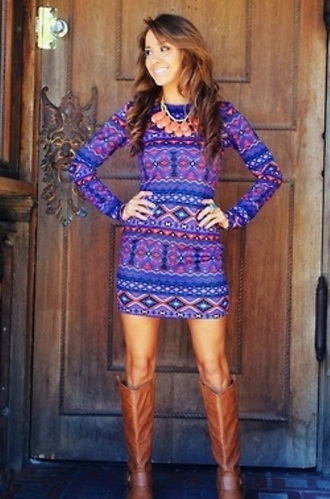 dress blue dress long sleeve dress thanksgiving holiday dress boots purple dress aztec print dress cute dress pink dress