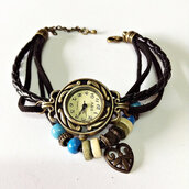 jewels,wrap watch,leather watch,charm bracelet,heart jewelry,vintage style watch,beaded,watch,jewelry,accessories