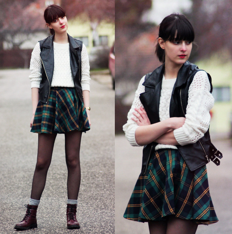 Plaid Check Skater Skirt - Retro, Indie and Unique Fashion