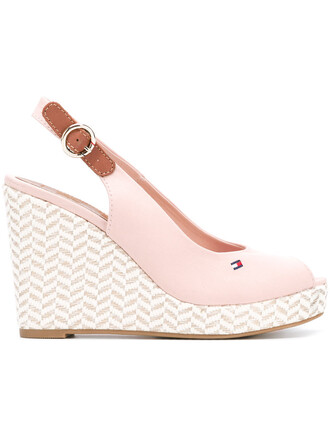 women sandals wedge sandals leather cotton purple pink shoes