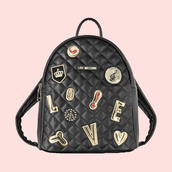 bag,heart,love,moschino,quilted bag,leather backpack,black leather backpack,black backpack,patch