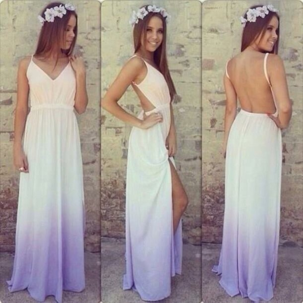 dress prom dress dip dyed colorful strapless quick