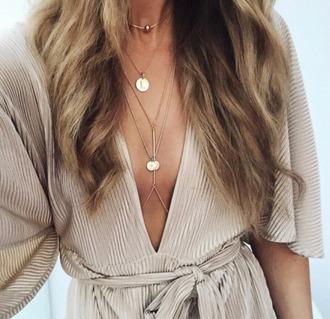 dress beige beige dress plunge dress