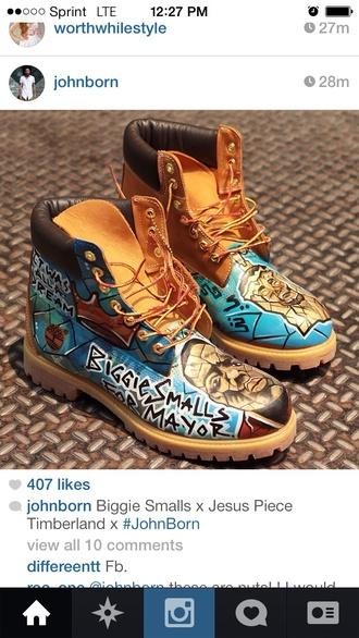boots brown blue black instagram biggie smalls biggie jesus jesus piece timberlands custom shoes custom timberlands tan