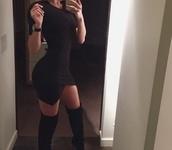 dress,asymmetrical black dress,black dress,bodycon dress,sexy dress,thigh high boots,black boots,asymmetrical dress,black,criss cross