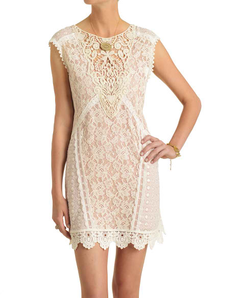 Champagne & Strawberry Mixed Lace and Crochet Shift Dress