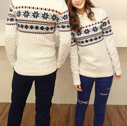 #160 couples snowflake sweater