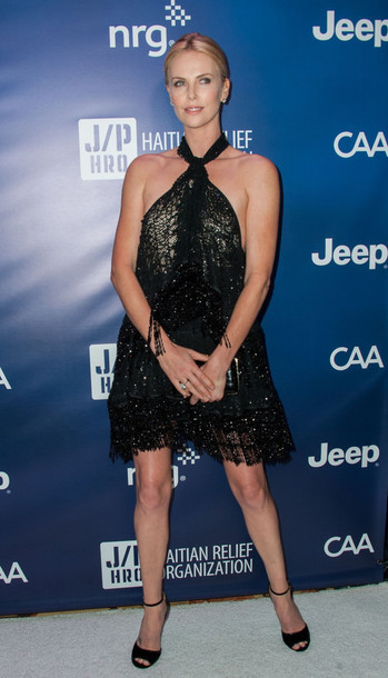 dress sandals black charlize theron