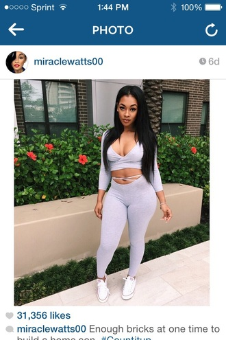 jumpsuit grey t-shirt trendy romper miracle watts instagram