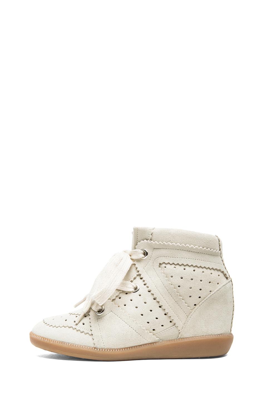 Bobby calfskin velvet leather sneakers in chalk