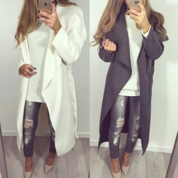 jeans coat jacket winter white pants ripped jeans gris grey jeans slim destroyed skinny jeans grey long pretty