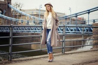 meri wild coat jeans hat bag jewels shoes