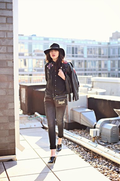 natalie off duty hat jewels jacket jeans shirt