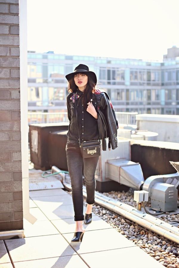 natalie off duty shirt jeans jacket hat jewels