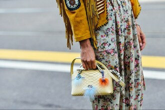 bag bag accessories yellow bag fur keychain accessories accessory streetstyle fringed jacket suede jacket snake skin lemongrass floral maxi dress boho chic