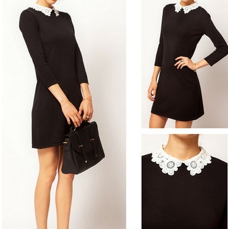 Lace flower collar show thin dress