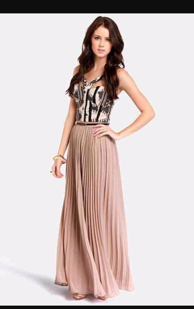 Skirt: tan, khaki, long skirt, maxi skirt, maxi dress, brown, tan ...