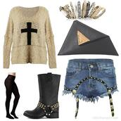 jewels,spiked rings,black boots,black leggings,black tights,shorts,cross,sweater,shoes,bag